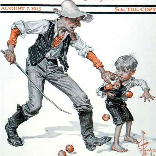 JC Leyendecker Saturday Evening Post Caught 1915_08_07 Copyright crop | Best of Vintage Cover Art 1900-1970