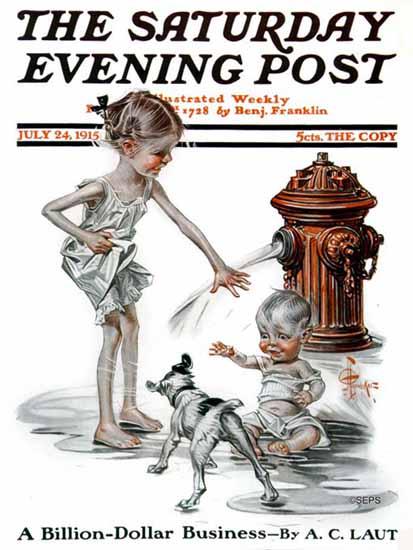 JC Leyendecker Saturday Evening Post Chilling 1915_07_24 | The Saturday Evening Post Graphic Art Covers 1892-1930