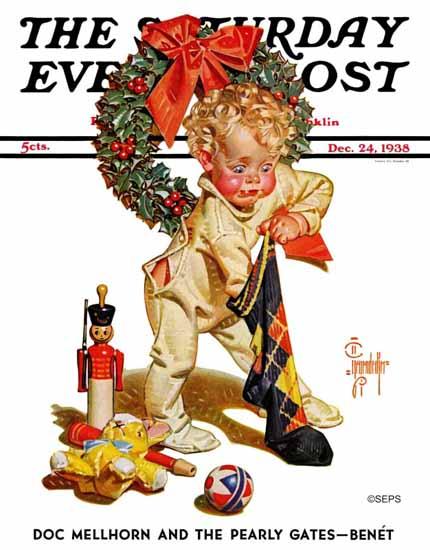 JC Leyendecker Saturday Evening Post Christmas Stocking Joy 1938_12_24 | The Saturday Evening Post Graphic Art Covers 1931-1969