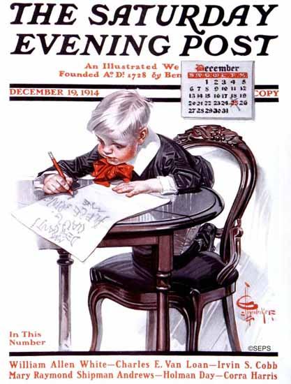 JC Leyendecker Saturday Evening Post Christmas Wish List 1914_12_19 | The Saturday Evening Post Graphic Art Covers 1892-1930
