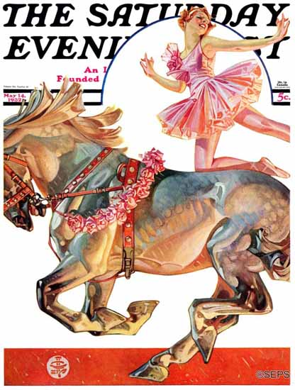 JC Leyendecker Saturday Evening Post Circus Bareback Rider 1932_05_14 | The Saturday Evening Post Graphic Art Covers 1931-1969