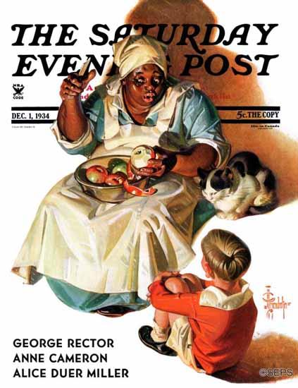 JC Leyendecker Saturday Evening Post Cooking up a Story 1934_12_01 | The Saturday Evening Post Graphic Art Covers 1931-1969