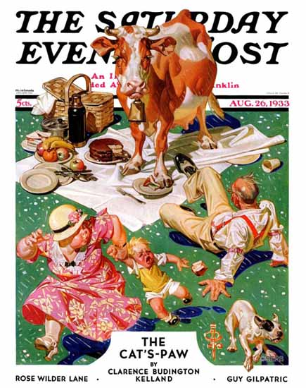 JC Leyendecker Saturday Evening Post Cow Joins the Picnic 1933_08_26 | The Saturday Evening Post Graphic Art Covers 1931-1969
