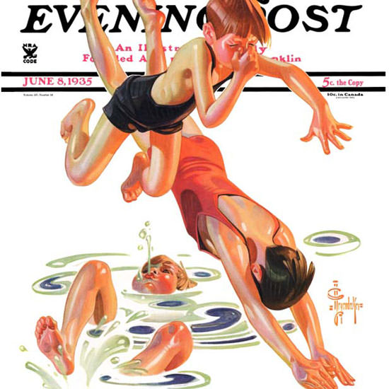 JC Leyendecker Saturday Evening Post Diving 1935_06_08 Copyright crop | Best of 1930s Ad and Cover Art