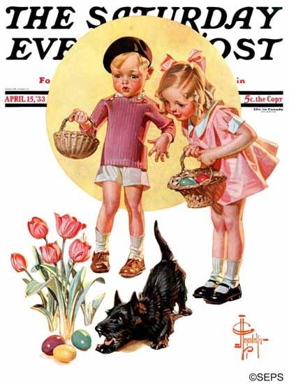 JC Leyendecker Saturday Evening Post Easter Egg Hunt 1933_04_15 | The Saturday Evening Post Graphic Art Covers 1931-1969
