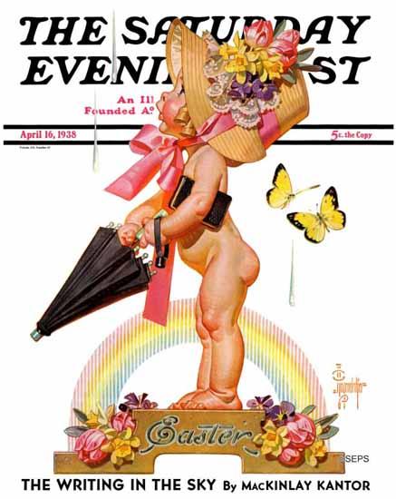 JC Leyendecker Saturday Evening Post Easter Rainbow 1938_04_16 | The Saturday Evening Post Graphic Art Covers 1931-1969