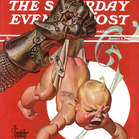 JC Leyendecker Saturday Evening Post Fist 1941_01_04 Copyright crop | Best of 1940s Ad and Cover Art