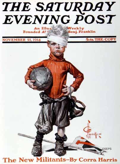 JC Leyendecker Saturday Evening Post Football 1914_11_21 | The Saturday Evening Post Graphic Art Covers 1892-1930