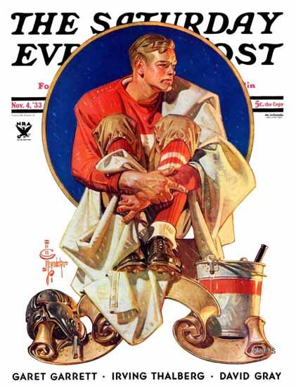 JC Leyendecker Saturday Evening Post Football Hero 1933_11_04 | The Saturday Evening Post Graphic Art Covers 1931-1969