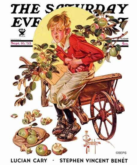 JC Leyendecker Saturday Evening Post Green Apples 1933_09_16 | The Saturday Evening Post Graphic Art Covers 1931-1969