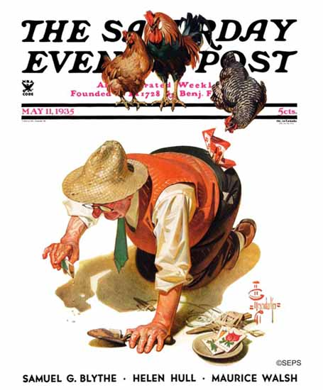 JC Leyendecker Saturday Evening Post Hens and Gardner 1935_05_11 | The Saturday Evening Post Graphic Art Covers 1931-1969