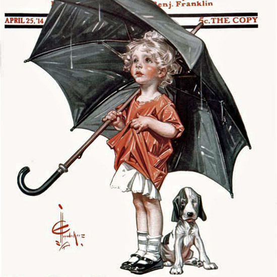 JC Leyendecker Saturday Evening Post In Rain 1914_04_25 Copyright crop | Best of Vintage Cover Art 1900-1970
