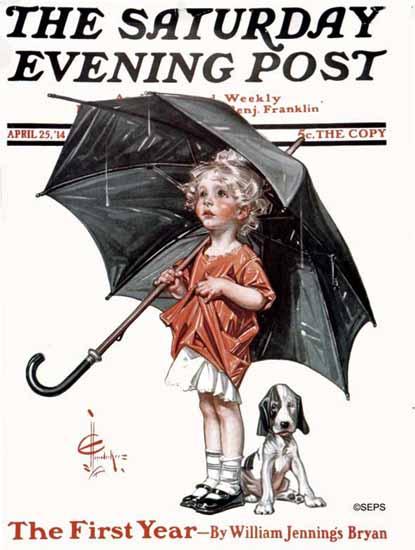 JC Leyendecker Saturday Evening Post In the Rain 1914_04_25 | The Saturday Evening Post Graphic Art Covers 1892-1930