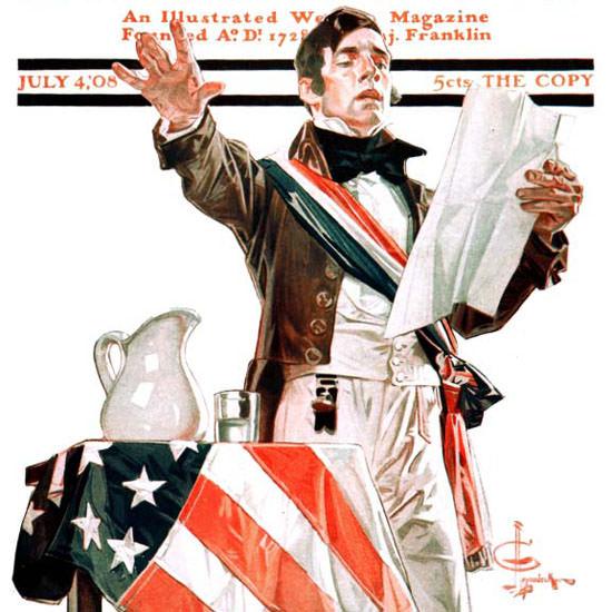 JC Leyendecker Saturday Evening Post July 4th 1908_07_04 Copyright crop | Best of Vintage Cover Art 1900-1970