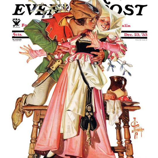 JC Leyendecker Saturday Evening Post Kiss 1933_12_23 Copyright crop | Best of 1930s Ad and Cover Art