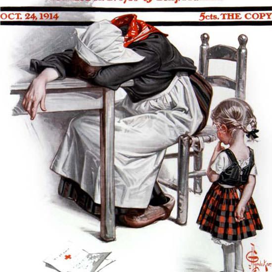JC Leyendecker Saturday Evening Post Letter 1914_10_24 Copyright crop | Best of Vintage Cover Art 1900-1970