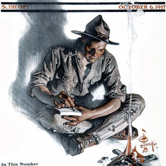 JC Leyendecker Saturday Evening Post Letter 1917_10_06 Copyright crop | Best of Vintage Cover Art 1900-1970