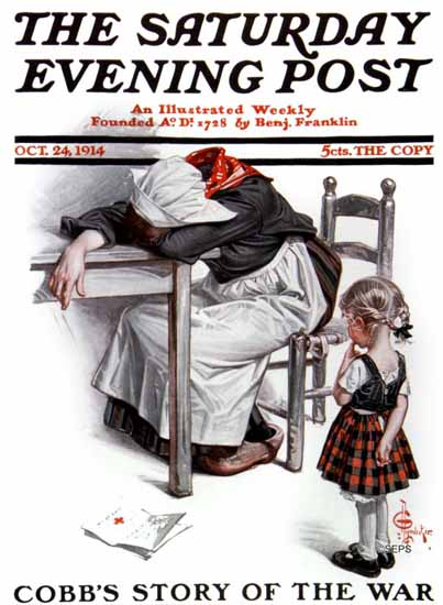 JC Leyendecker Saturday Evening Post Letter of War 1914_10_24 | The Saturday Evening Post Graphic Art Covers 1892-1930