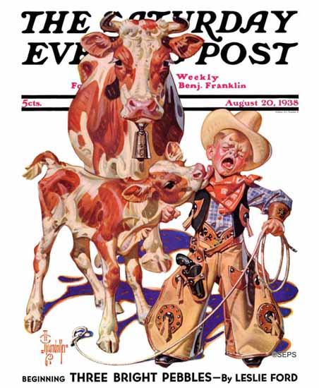 JC Leyendecker Saturday Evening Post Licking Little Cowboy 1938_08_20   The Saturday Evening Post Graphic Art Covers 1931-1969