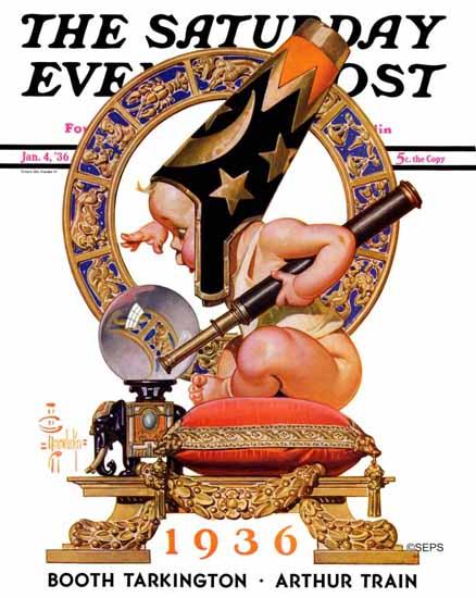 JC Leyendecker Saturday Evening Post New Year Crystal Ball 1936_01_04   The Saturday Evening Post Graphic Art Covers 1931-1969