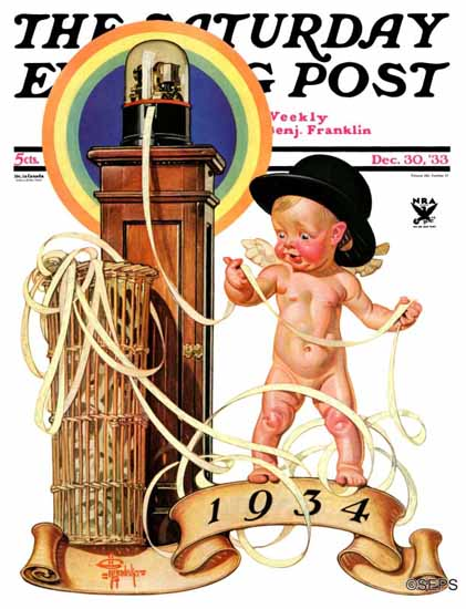 JC Leyendecker Saturday Evening Post New Year Tickertape 1933_12_30 | The Saturday Evening Post Graphic Art Covers 1931-1969