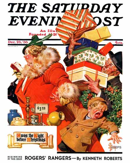 JC Leyendecker Saturday Evening Post Night before Christmas 1936_12_26 | The Saturday Evening Post Graphic Art Covers 1931-1969
