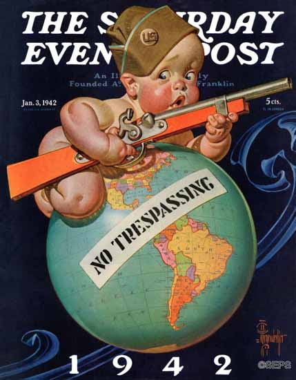 JC Leyendecker Saturday Evening Post No Trespassing 1942_01_03 | The Saturday Evening Post Graphic Art Covers 1931-1969