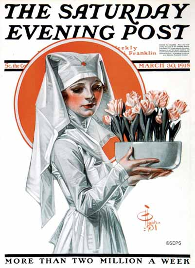 JC Leyendecker Saturday Evening Post Nurse 1918_03_30 | The Saturday Evening Post Graphic Art Covers 1892-1930