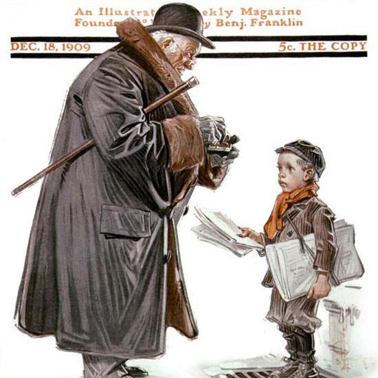 JC Leyendecker Saturday Evening Post Paper 1909_12_18 Copyright crop   Best of Vintage Cover Art 1900-1970