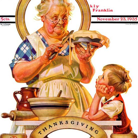 JC Leyendecker Saturday Evening Post Pie 1935_11_23 Copyright crop | Best of Vintage Cover Art 1900-1970