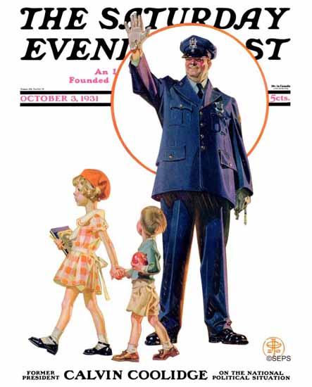 JC Leyendecker Saturday Evening Post Policeman Children 1931_10_03 | The Saturday Evening Post Graphic Art Covers 1931-1969