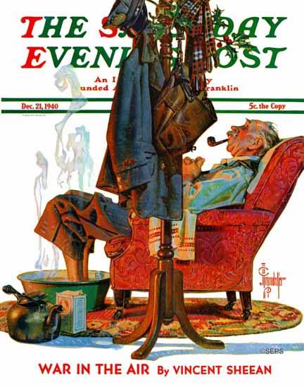 JC Leyendecker Saturday Evening Post Postman Soaking Feet 1940_12_21 | The Saturday Evening Post Graphic Art Covers 1931-1969