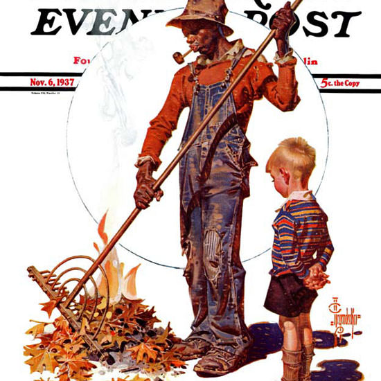 JC Leyendecker Saturday Evening Post Raking 1937_11_06 Copyright crop | Best of 1930s Ad and Cover Art