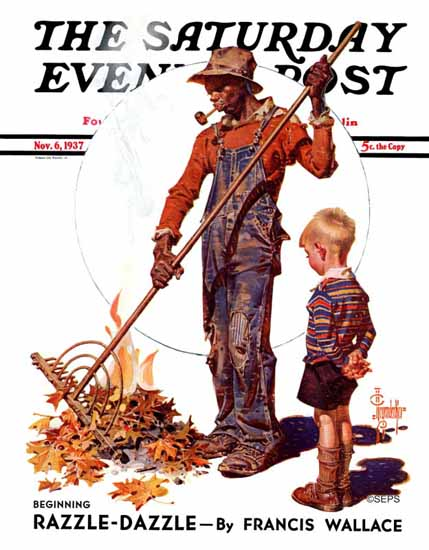 JC Leyendecker Saturday Evening Post Raking Leaves 1937_11_06 | The Saturday Evening Post Graphic Art Covers 1931-1969