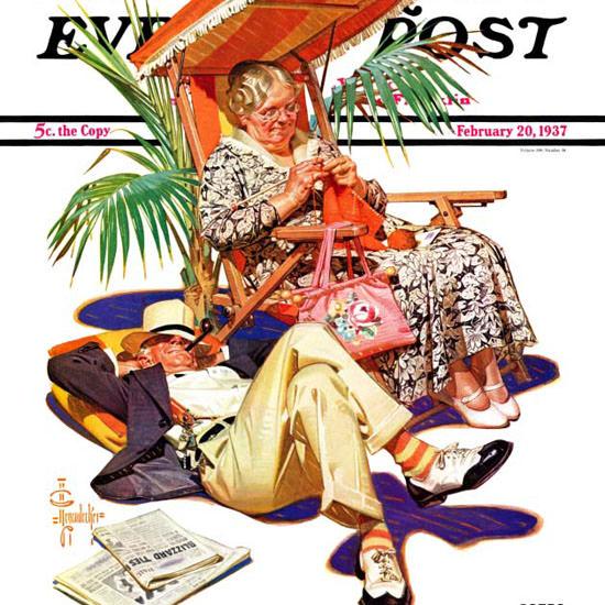 JC Leyendecker Saturday Evening Post Retired 1937_02_20 Copyright crop | Best of Vintage Cover Art 1900-1970