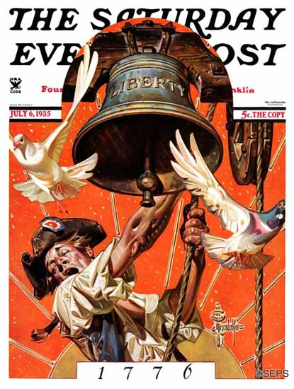 JC Leyendecker Saturday Evening Post Ringing Liberty Bell 1935_07_06 | The Saturday Evening Post Graphic Art Covers 1931-1969