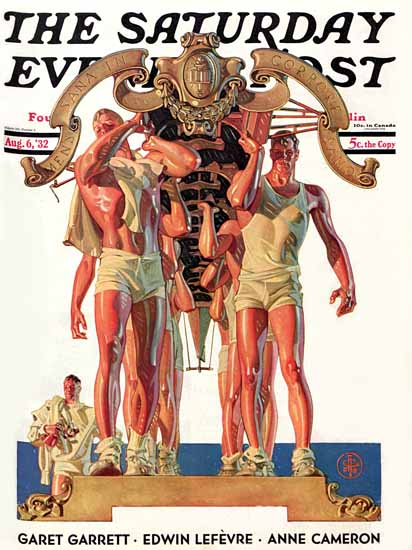 JC Leyendecker Saturday Evening Post Rowing Team 1932_08_06 | The Saturday Evening Post Graphic Art Covers 1931-1969