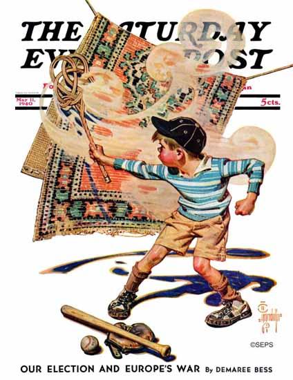 JC Leyendecker Saturday Evening Post Rug Beater 1940_05_11 | The Saturday Evening Post Graphic Art Covers 1931-1969