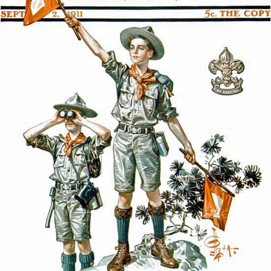 JC Leyendecker Saturday Evening Post Scouts 1911_09_02 Copyright crop | Best of Vintage Cover Art 1900-1970