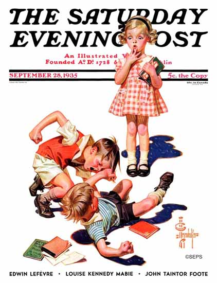 JC Leyendecker Saturday Evening Post She is My Girl 1935_09_28 | The Saturday Evening Post Graphic Art Covers 1931-1969