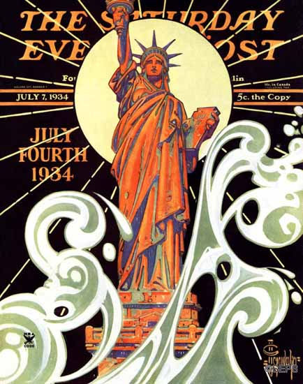 JC Leyendecker Saturday Evening Post Statue of Liberty 1934_07_07 | The Saturday Evening Post Graphic Art Covers 1931-1969