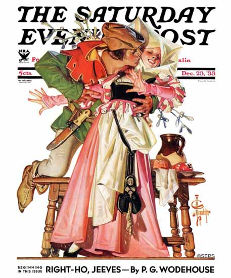 JC Leyendecker Saturday Evening Post Stealing Christmas Kiss 1933_12_23 | The Saturday Evening Post Graphic Art Covers 1931-1969