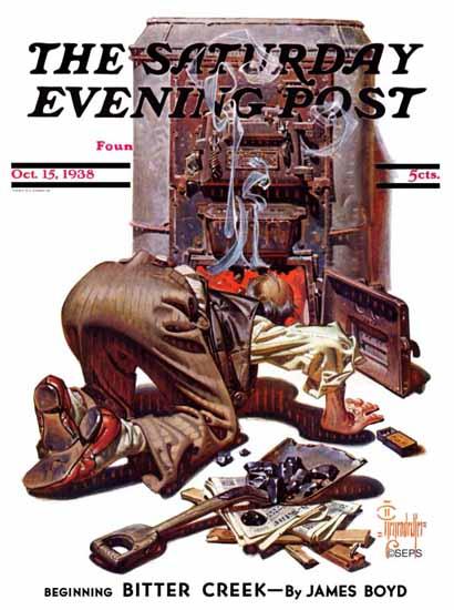 JC Leyendecker Saturday Evening Post Stoking the Furnace 1938_10_15 | The Saturday Evening Post Graphic Art Covers 1931-1969