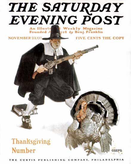 JC Leyendecker Saturday Evening Post Thanksgiving 1907_11_23 | The Saturday Evening Post Graphic Art Covers 1892-1930