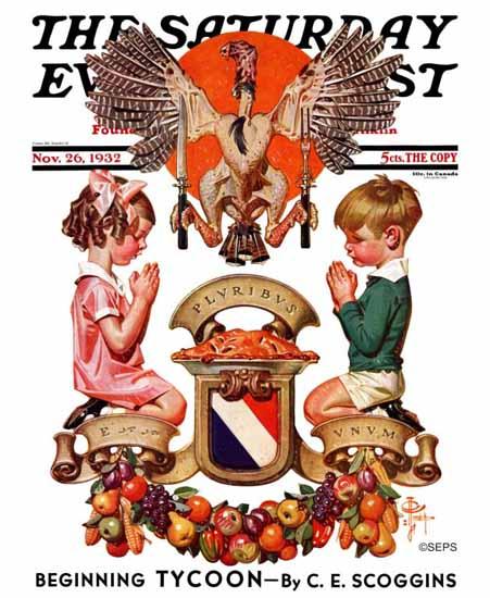 JC Leyendecker Saturday Evening Post Thanksgiving Crest 1932_11_26 | The Saturday Evening Post Graphic Art Covers 1931-1969