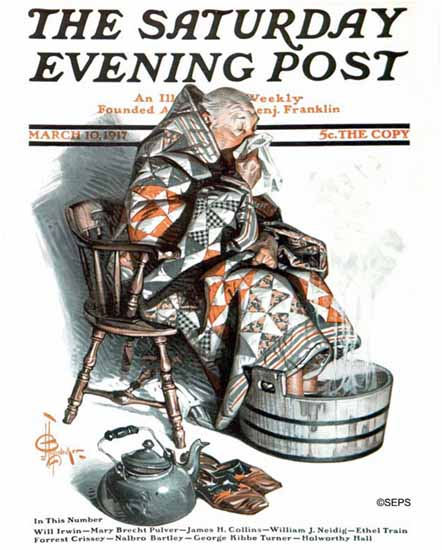 JC Leyendecker Saturday Evening Post The Cold 1917_03_10 | The Saturday Evening Post Graphic Art Covers 1892-1930