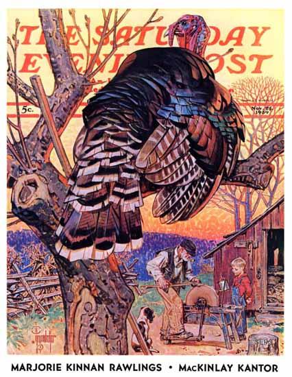 JC Leyendecker Saturday Evening Post Turkey in the Tree 1939_11_25 | The Saturday Evening Post Graphic Art Covers 1931-1969