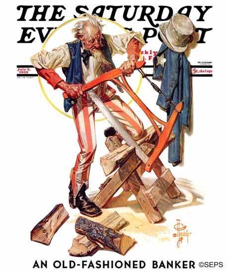 JC Leyendecker Saturday Evening Post Uncle Sam Sawing 1932_07_02 | The Saturday Evening Post Graphic Art Covers 1931-1969