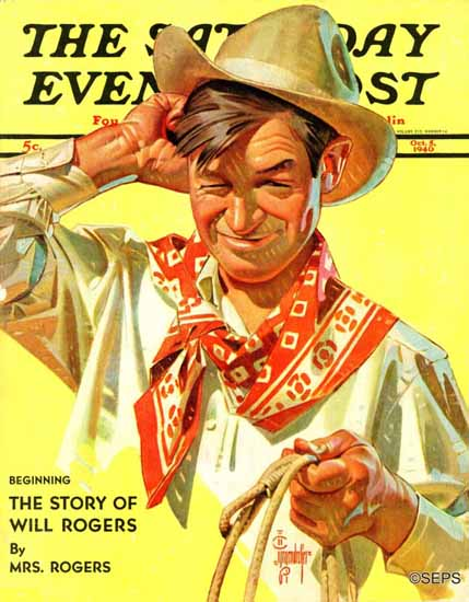 JC Leyendecker Saturday Evening Post Will Rogers 1940_10_05 | The Saturday Evening Post Graphic Art Covers 1931-1969