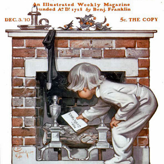 JC Leyendecker Saturday Evening Post Xmas 1910_12_03 Copyright crop | Best of Vintage Cover Art 1900-1970